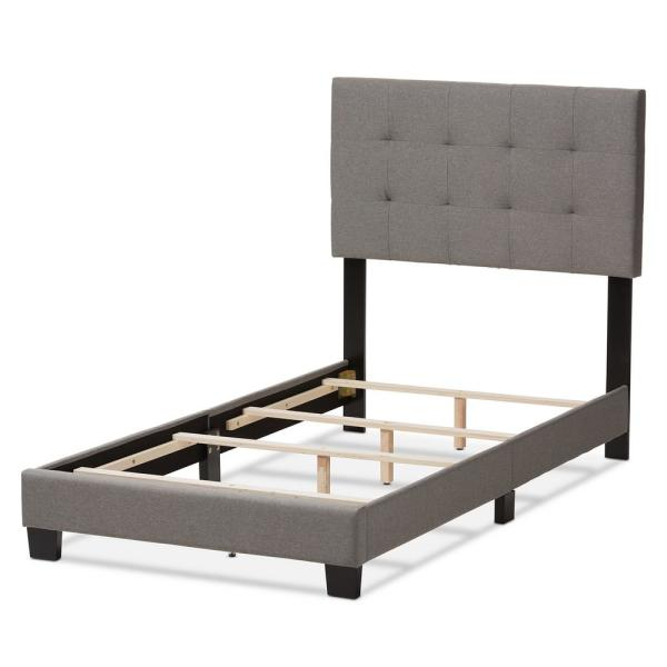 Baxton Studio Brookfield Gray Fabric Upholstered Twin Bed 28862 7595