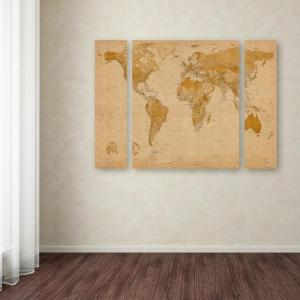 Designs direct 30 in x 40 in old world map printed canvas wall art antique world map by michael tompsett printed gumiabroncs Images