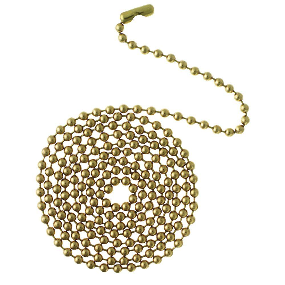 Commercial Electric 12 ft. Brass Beaded Chain with Connector, Polished Brass This solid brass, beaded chain offers 12 ft. of length. Ideal for using as a pull chain for ceiling fans and light fixtures. This beaded chain allows you to customize its length to fit your needs. Color: Polished Brass.