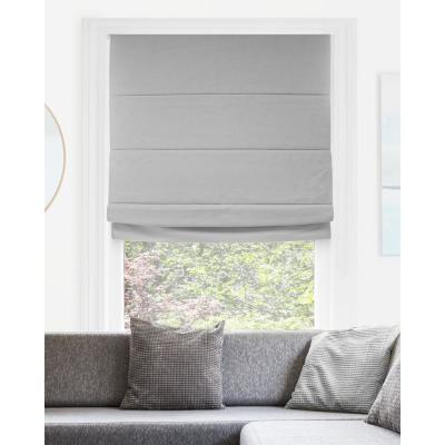 Del Mar Ready-Made Pearl Grey Cordless Blackout Privacy Fabric Roman Shade 36 in. W x 64 in. L