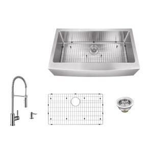 IPT Sink Company Apron Front 33 inch 16-Gauge Stainless Steel Single Bowl Kitchen Sink in Brushed Stainless with Pull... by IPT Sink Company