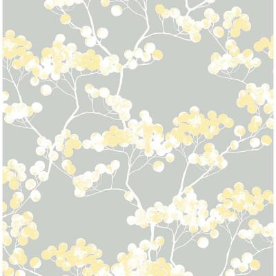 Buttercup and Grey Cyprus Blossom Peel and Stick Wallpaper 30.75 sq. ft.