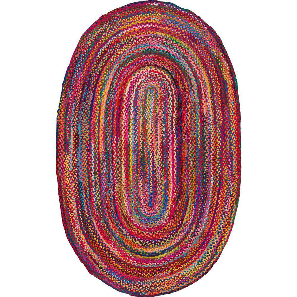 Tammara Multi 8 ft. x 11 ft. Oval Chindi Area Rug
