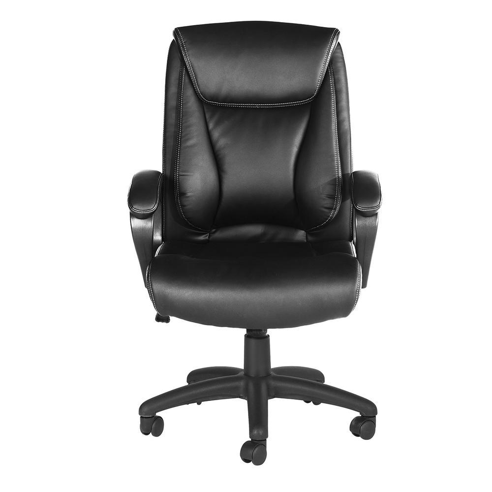 Pantheon Black PU Armrest Soft Pad Office Executive Chair
