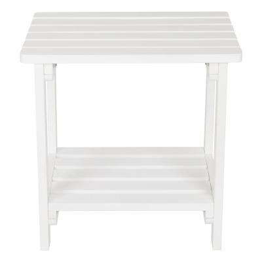 White Rectangular Wood Side Table