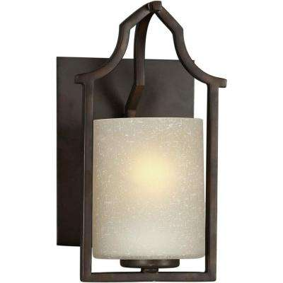 Dhruv 1-Light Antique Bronze Sconce with Umber Linen Glass