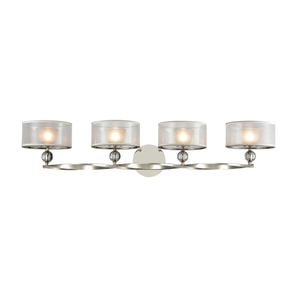 An Lighting Corisande 4 Light Polished Nickel With Silver Organza Shade Bath