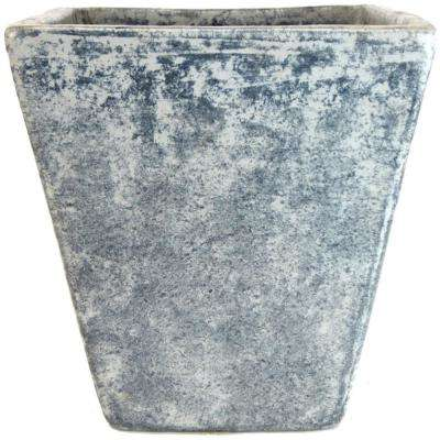 18 in. Stone Gray Tall Square Vase