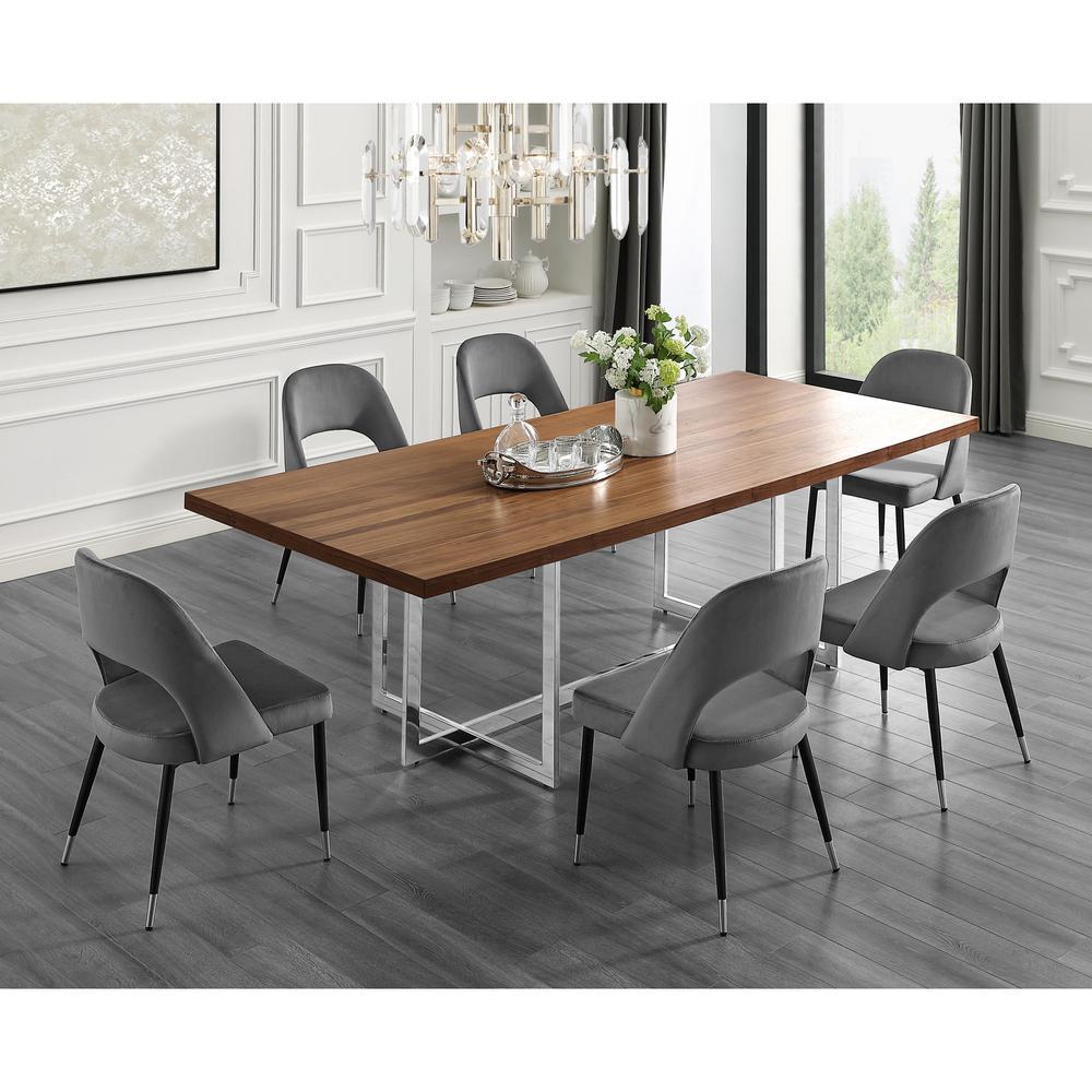 Davian 94.5 in. Walnut Wood Veneer Dining Table with Chrome Metal Legs