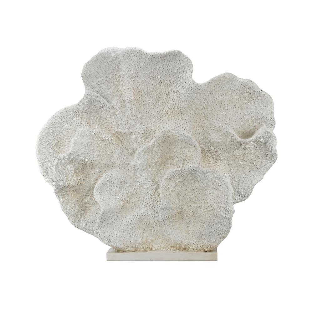 Cretaceous 37 in. x 6 in. x 33 in. Fossil Decorative Sculpture in White