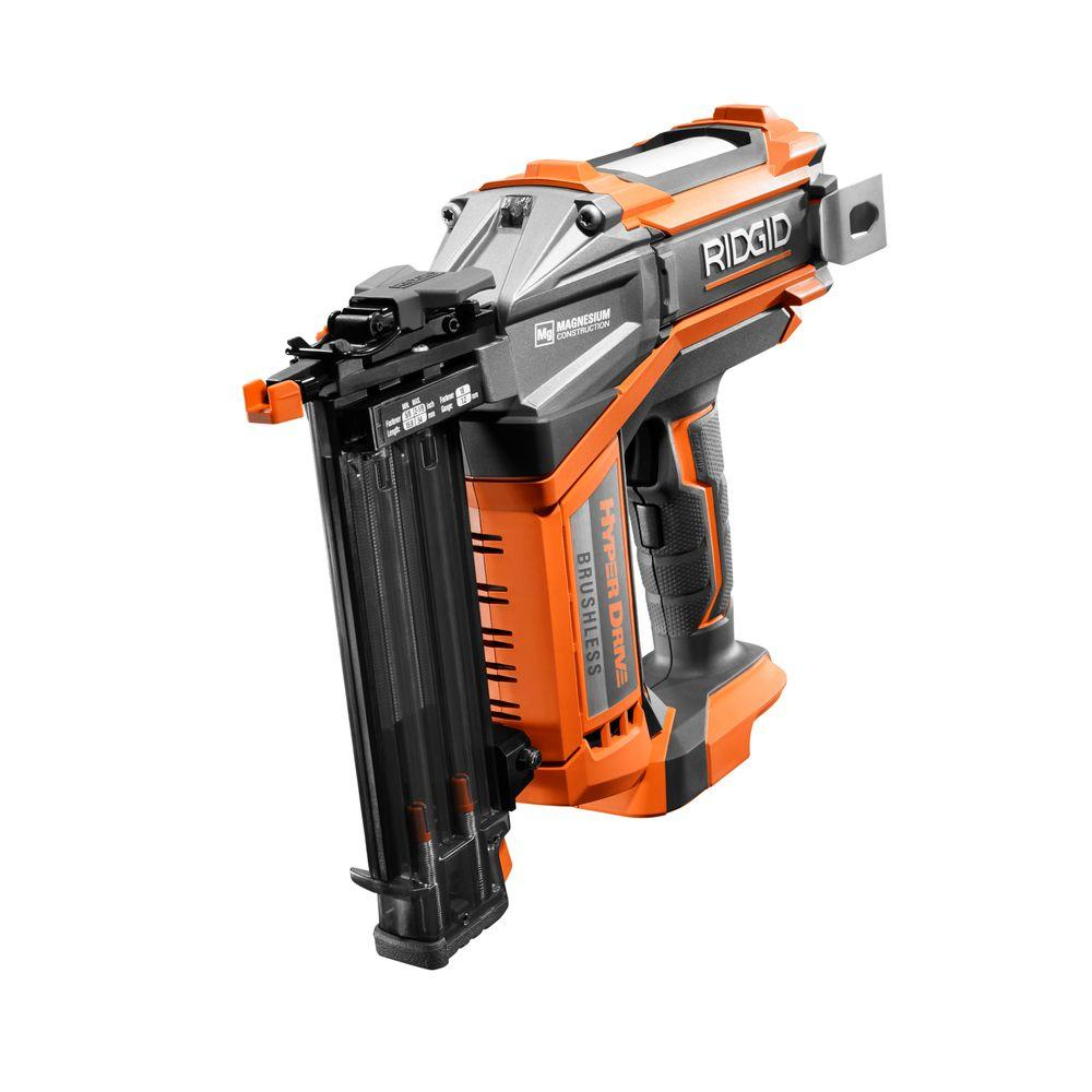 RIDGID 18-Volt Cordless Brushless HYPERDRIVE 18-Gauge 2-1/8 in. Brad Nailer (Tool Only) Belt Clip, Bag, and Sample Nails