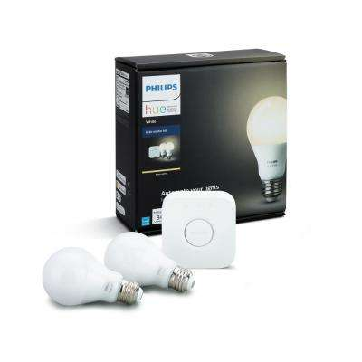 Hue White 60W Equivalent Soft White (2700K) A19 Connected Home LED Light Bulb Starter Kit