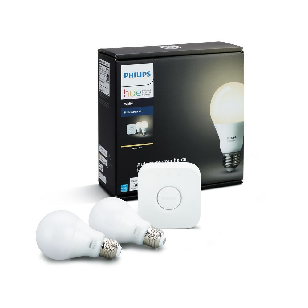 60-Watt Equivalent A19 Dimmable Hue White Smart Wireless Soft White LED Light Bulb Starter Kit
