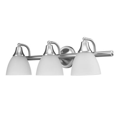 Jayden 3-Light Brushed Steel Vanity Light with Frosted Glass Shades