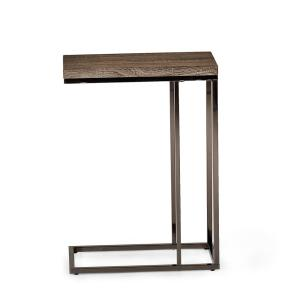 Steve Silver-Lucia Dark Brown Chairside End Table with Chrome Base