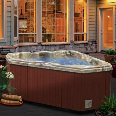 2-Person 28-Jet Premium Acrylic Triangle Spa Hot Tub with Multi Color Spa Light