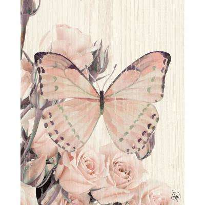 """11 in. x 14 in. """"Butterfly and Roses Tea Party"""" Planked Wood Wall Art Print"""
