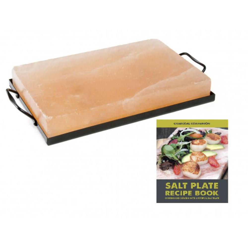 Charcoal Companion 12 in. x 8 in. Himalayan Salt Plate, Holder and Recipe Book Set