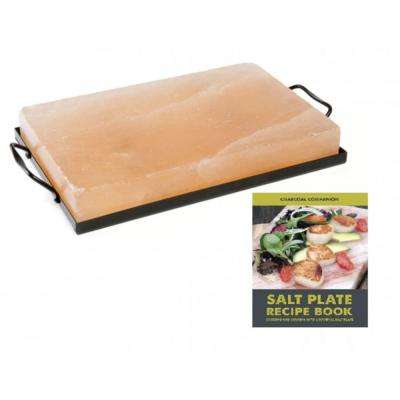 12 in. x 8 in. Himalayan Salt Plate, Holder and Recipe Book Set