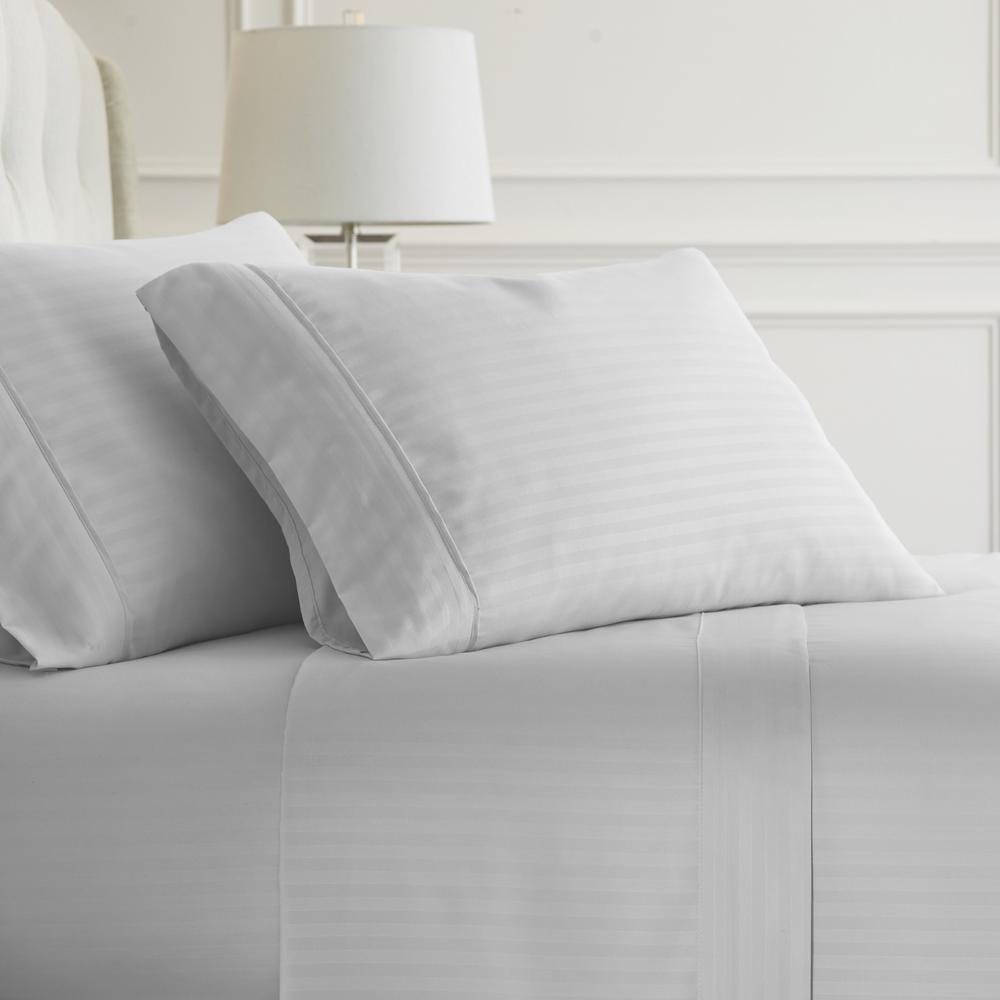 Becky Cameron Embossed Striped 4 Piece White Full Performance Bed Sheet Set