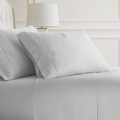 Embossed Striped 4-Piece White King Performance Bed Sheet Set