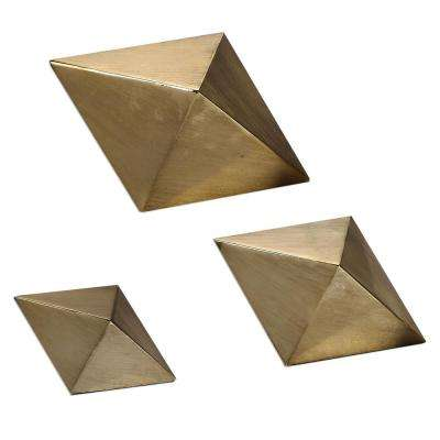 5 in. Rhombus Sculptures in Antiqued Champagne (Set of 3)