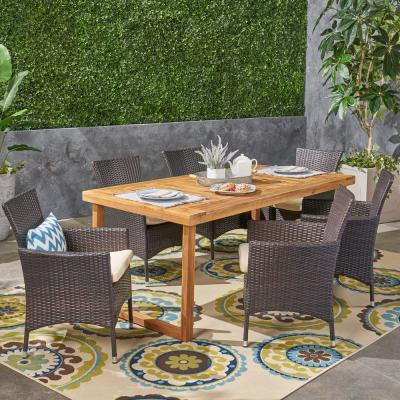 Stamford Sandblast Natural 6-Piece Wood and Multi-Brown Wicker Outdoor Dining Set with Beige Cushions