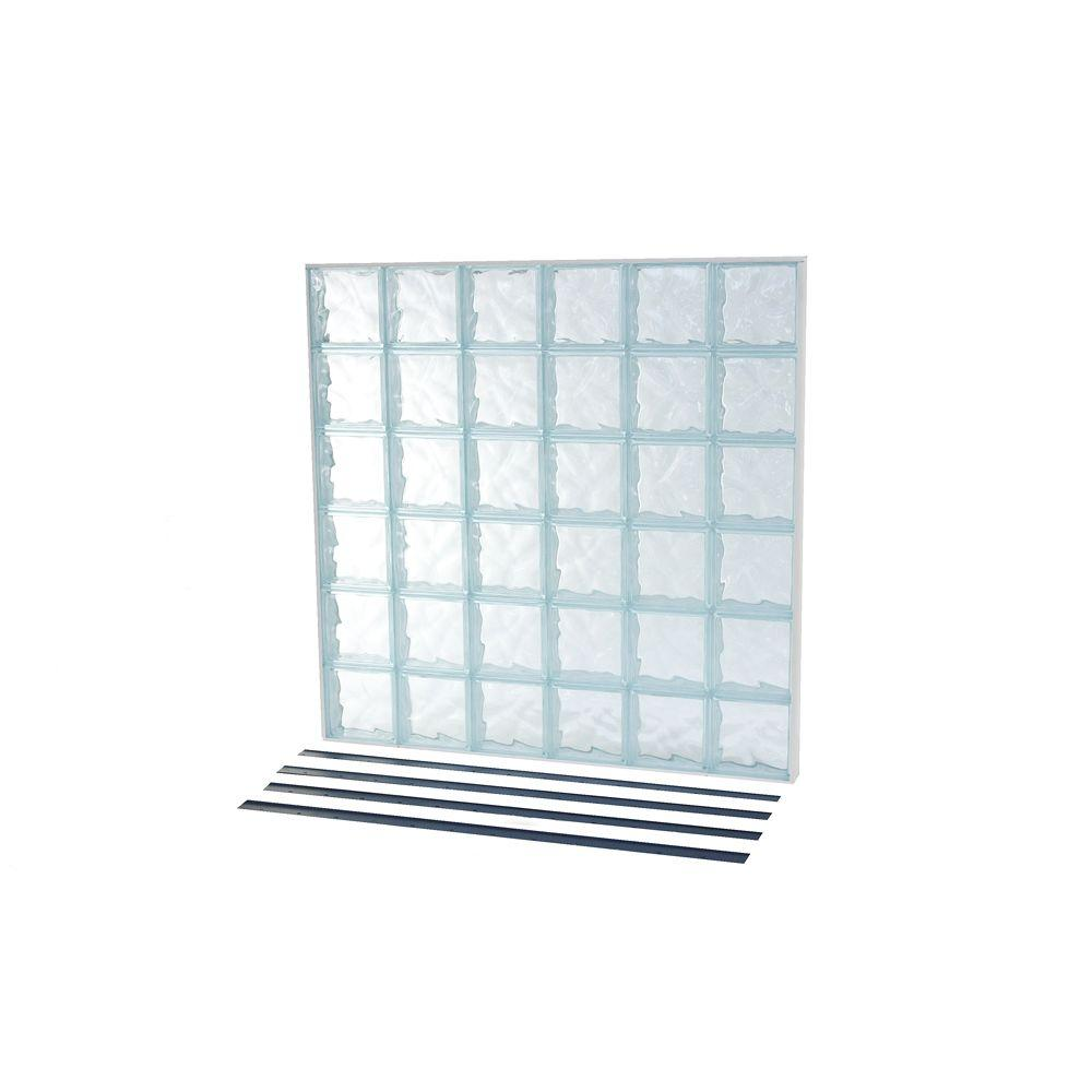 TAFCO WINDOWS 46.75 in. x 46.75 in. NailUp2 Wave Pattern Solid Glass Block Window