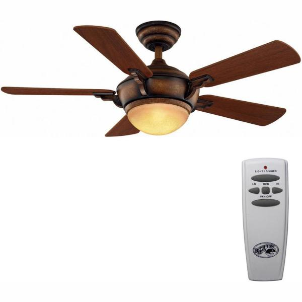 Midili 44 in. LED Indoor Gilded Espresso Ceiling Fan with Light Kit and Remote Control