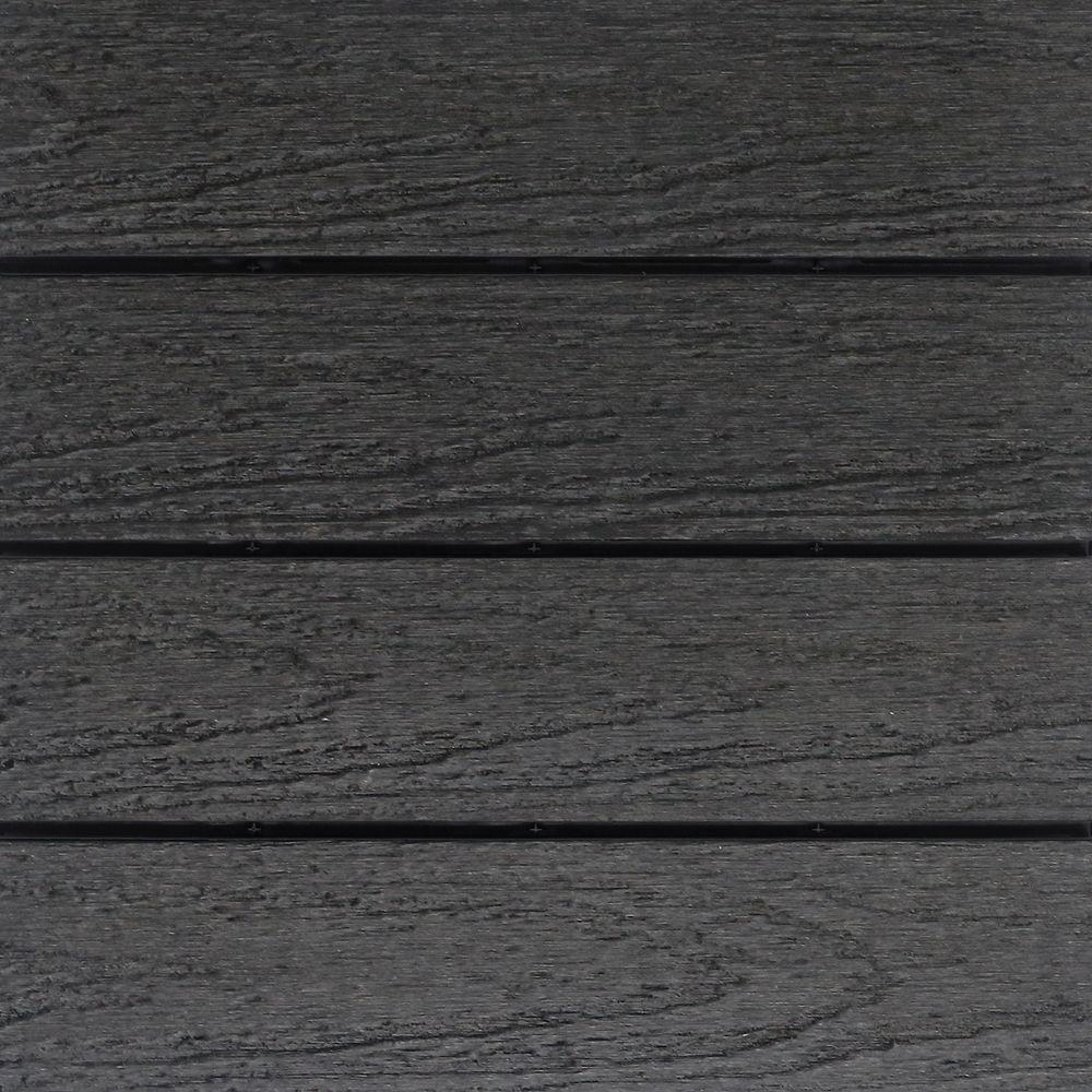 UltraShield Naturale 1 ft. x 1 ft. Quick Deck Outdoor Composite Deck Tile in Hawaiian Charcoal (10 sq. ft. Per Box)