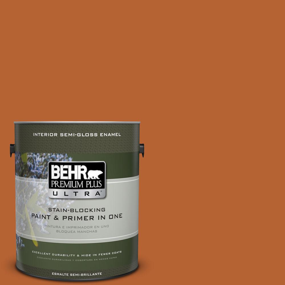 1-gal. #250D-7 Caramelized Orange Semi-Gloss Enamel Interior Paint