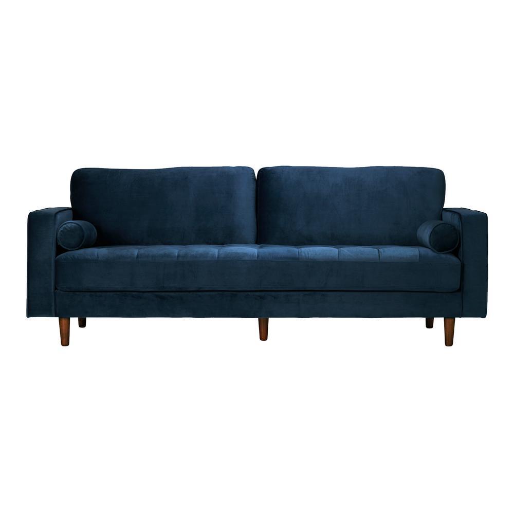 Poly and Bark Inga Space Blue Velvet Sofa HD-349-BLU - The Home Depot