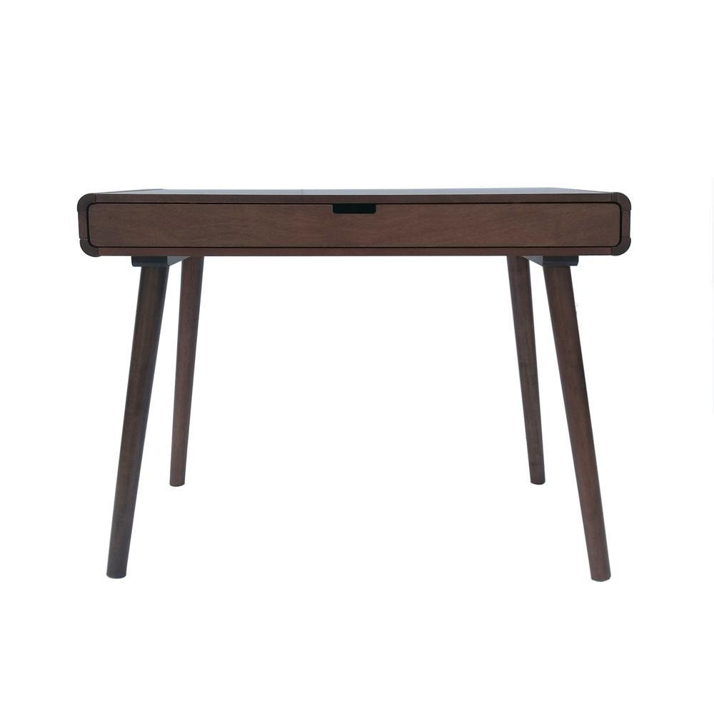 Noble house peninah mid century modern medium brown rubberwood writing desk with drawer