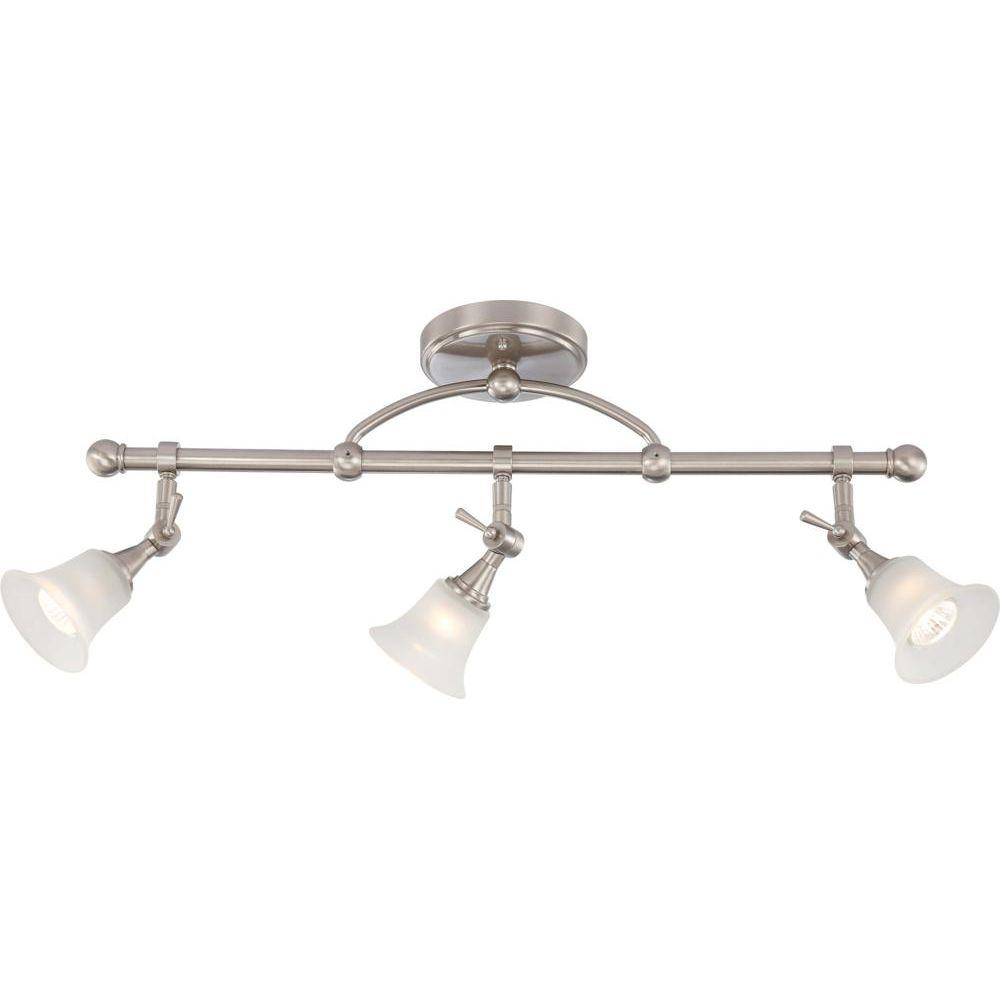 Brushed Nickel Fixed Track Lighting Bar With Directional Heads