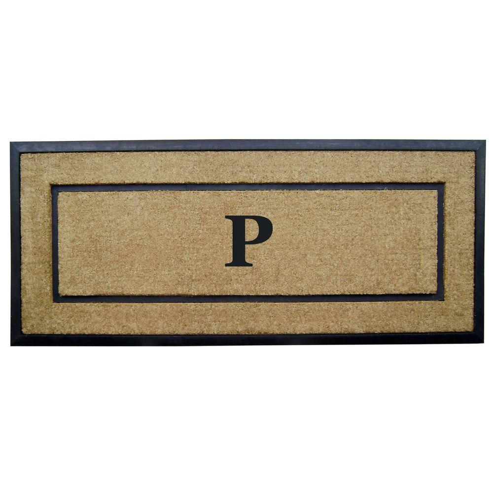 Nedia Home DirtBuster Single Picture Frame Black 24 in. x 57 in. Coir with Rubber Border Monogrammed P Door Mat