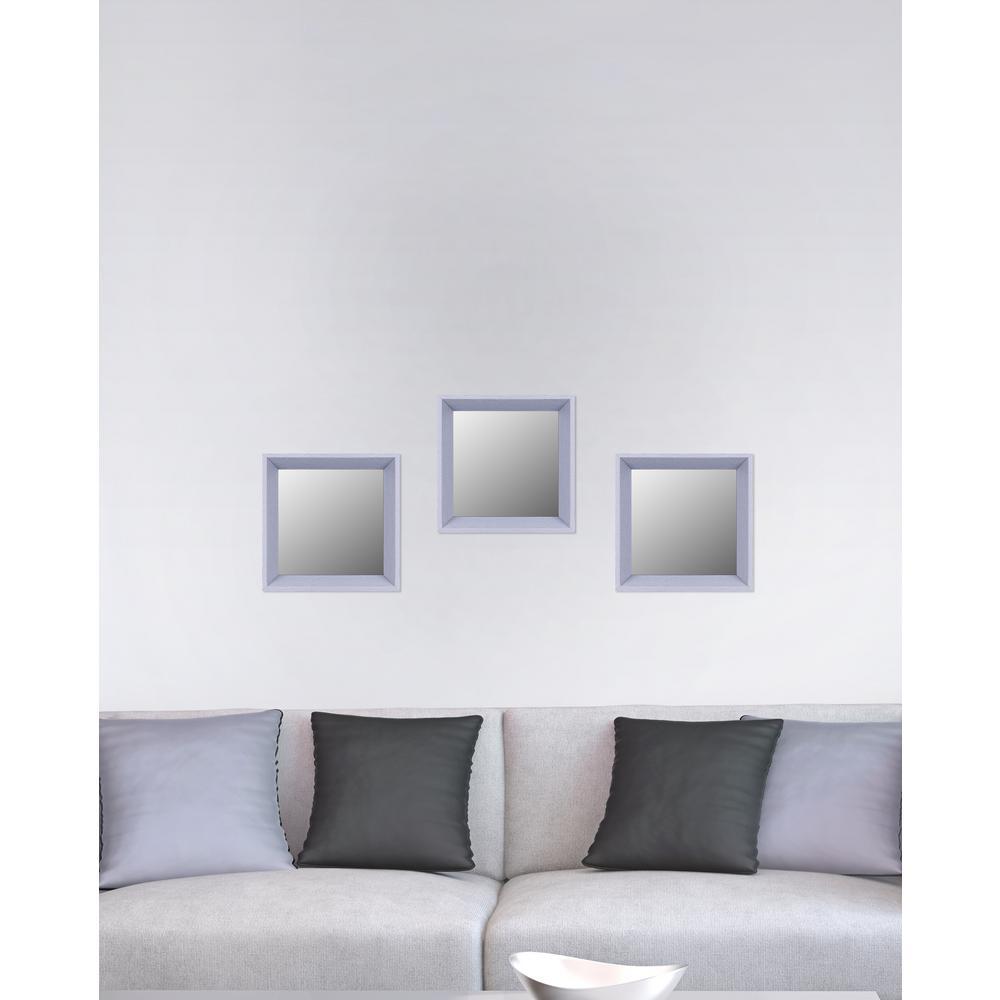 10.5 in. x 10.5 in. Light Grey Plain Mirror (Set of 3)