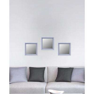 10.5 in. x 10.5 in. Light Grey Plain Mirror (Set of 3)