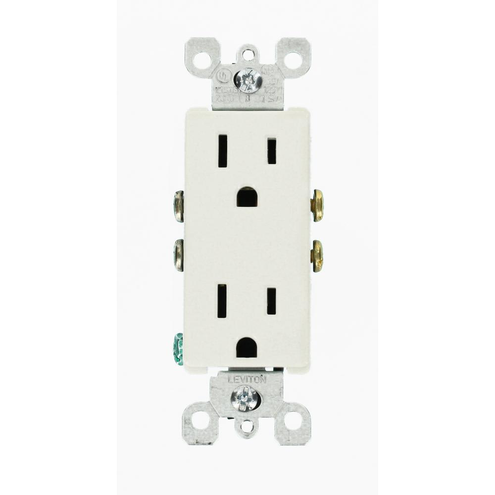 leviton decora 15 amp duplex outlet white 10 pack m24 05325 wmp the home depot. Black Bedroom Furniture Sets. Home Design Ideas