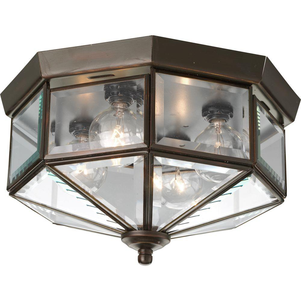 Progress Lighting Progress Lighting 11.13 in. 4-Light Antique Bronze Flush Mount with Clear Beveled Glass