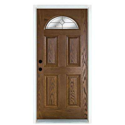 36 in. x 80 in. Valentia Medium Oak Right-Hand Inswing Fan Lite Decorative Fiberglass Prehung Front Door