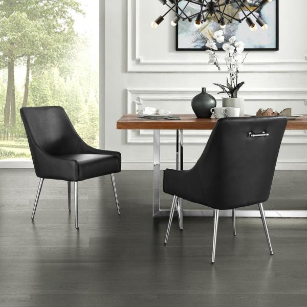 Inspired Home Capelli Black/Chrome PU Leather Metal Leg Armless Dining Chair