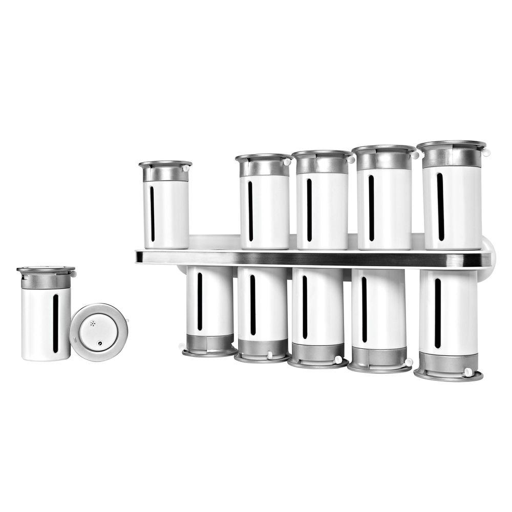 Zero Gravity 12-Canister Wall-Mount Magnetic Spice Rack in White/Silver