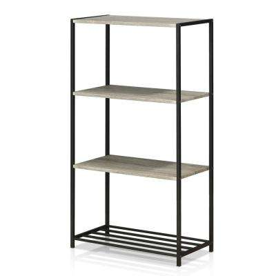 Modern 4-Tier Metal Storage Shelves in Dark Oak