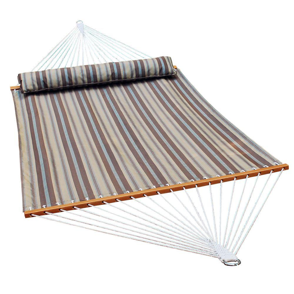 polyester swing hammock in earth tone stripe algoma 13 ft  quilted reversible hammock in blue stripe with      rh   homedepot