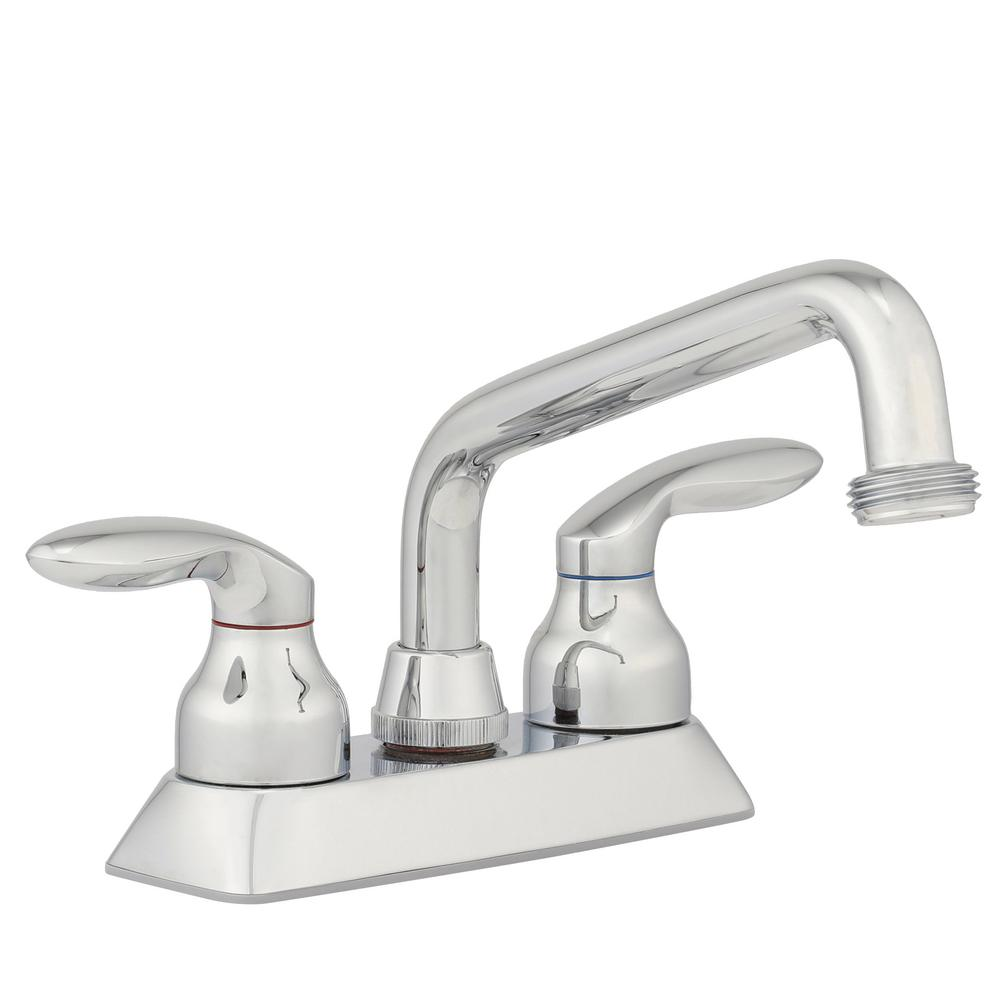 Coralais 4 in. 2-Handle Low-Arc Utility Sink Faucet in Polished Chrome
