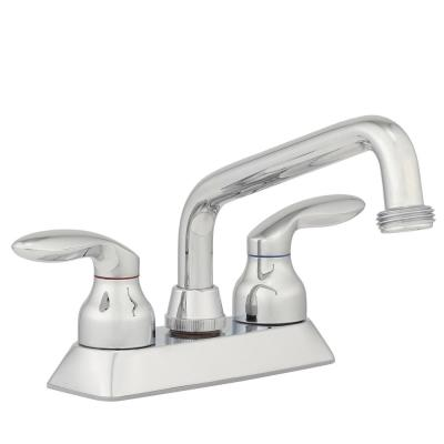 Coralais 4 in. 2-Handle Low-Arc Utility Sink Faucet in Polished Chrome with Threaded Spout