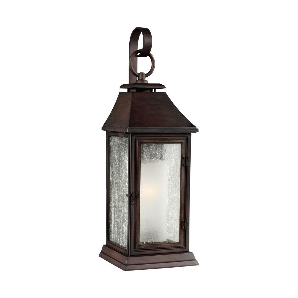 competitive price e5858 fa867 Feiss Shepherd 1-Light Heritage Copper Outdoor 11.75 in. Wall Lantern Sconce