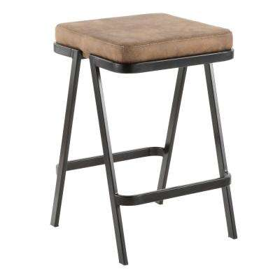 Seven 25 in. Backless Counter Stool with Brown Cowboy Cushion