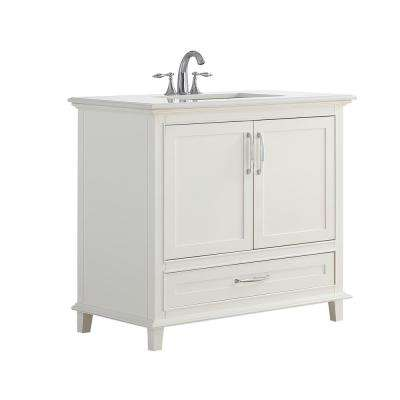 Ariana 37 in. W x 21.5 in. D x 34.5 in. H Vanity in Soft White with Stone Vanity Top in Bombay White with White Basin