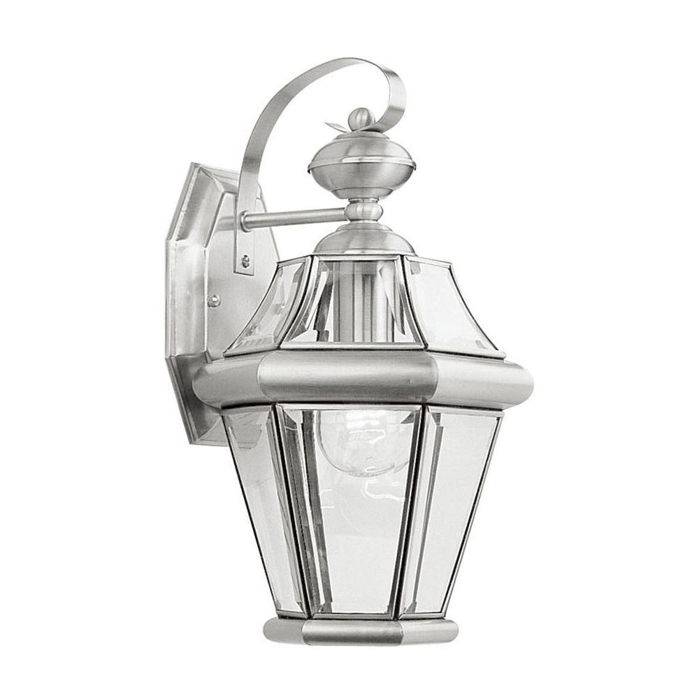 Wall-Mount 1-Light Brushed Nickel Outdoor Incandescent Lantern